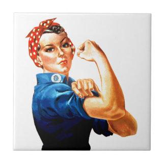 Podemos hacerlo Rosie la propaganda del remachador Azulejo Cuadrado Pequeño
