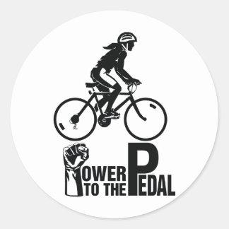 Poder al pedal pegatina redonda