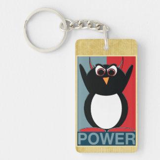 Poder al pingüino malvado llavero rectangular acrílico a una cara
