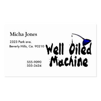 Poder bien engrasada del aceite de la máquina tarjetas de visita