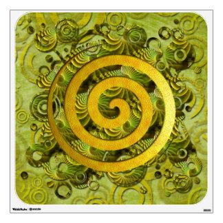 Poder curativo - círculo verde y espiral de oro vinilo adhesivo