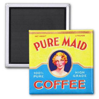 Poder de café hecha pura del vintage del anuncio r imán cuadrado