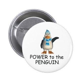 Poder de la CAMISETA al pingüino Pin Redondo 5 Cm
