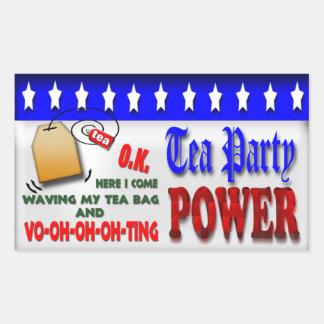 Poder de la fiesta del té pegatina rectangular