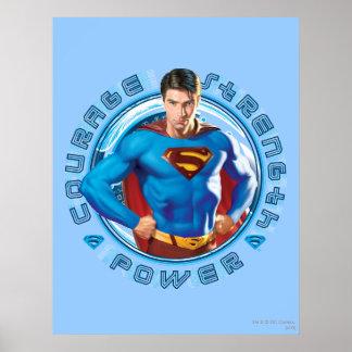 Poder de la fuerza del valor del superhombre póster
