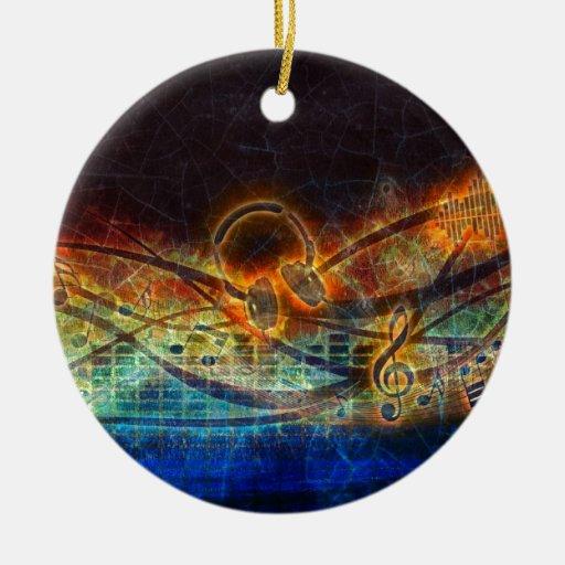 poder de la música adorno redondo de cerámica