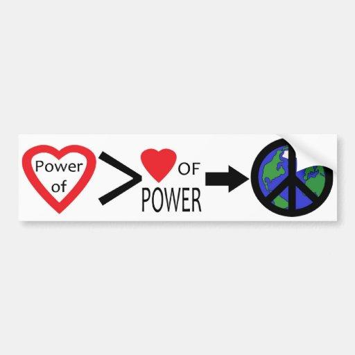 Poder de la pegatina para el parachoques del amor pegatina de parachoque