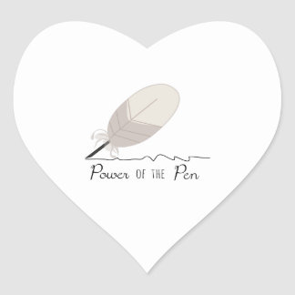 Poder de la pluma pegatina en forma de corazón