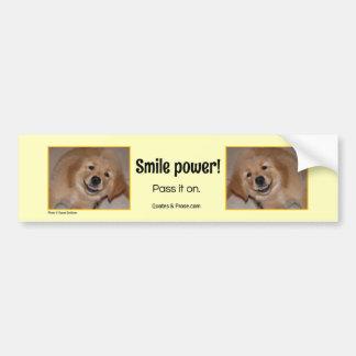 ¡Poder de la sonrisa! Perrito de oro sonriente Pegatina Para Auto