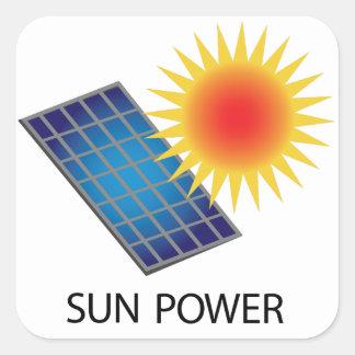 Poder de Sun Pegatina Cuadrada
