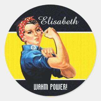 ¡Poder de WAHM! - Mamá del trabajo en casa Pegatina Redonda