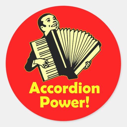 ¡Poder del acordeón! Etiquetas Redondas