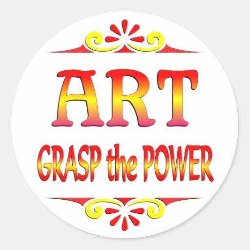 Poder del arte etiqueta redonda
