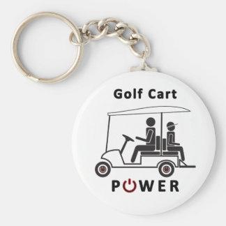 Poder del carro de golf llavero redondo tipo pin