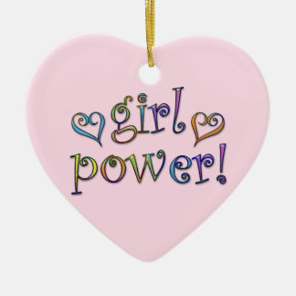 ¡poder del chica! adorno navideño de cerámica en forma de corazón