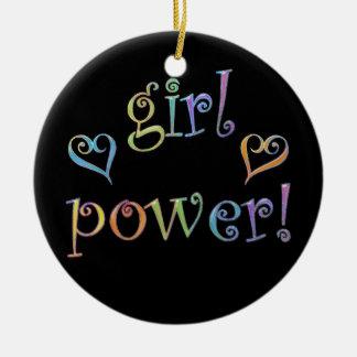 ¡poder del chica! adorno navideño redondo de cerámica