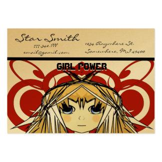 Poder del chica del animado tarjetas de visita grandes
