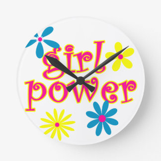 Poder del chica relojes de pared