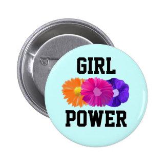 Poder del chica y botón de las flores pin redondo de 2 pulgadas