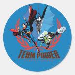 Poder del equipo de la liga de justicia pegatina redonda
