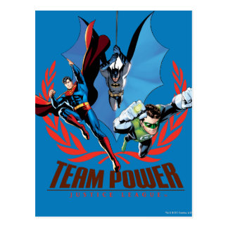 Poder del equipo de la liga de justicia tarjetas postales
