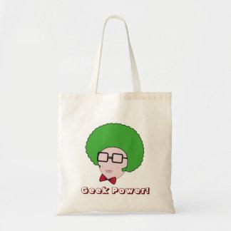 Poder del friki con una peluca verde del Afro y un Bolsa