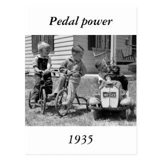 Poder del pedal, los años 30 postal
