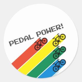 ¡Poder del pedal! Pegatina Redonda