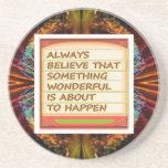 Poder del pensamiento positivo de la intención n posavasos personalizados