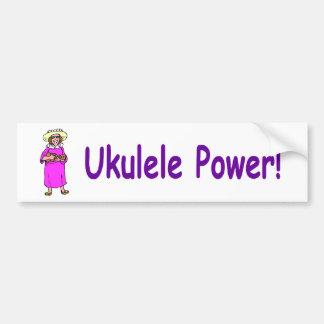 ¡Poder del Ukulele! Etiqueta De Parachoque