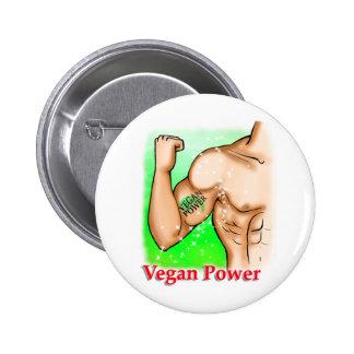 poder del vegano pin redondo de 2 pulgadas