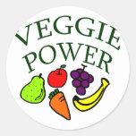 Poder del Veggie Etiqueta Redonda