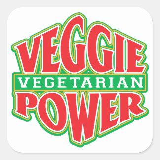 Poder del Veggie Pegatina Cuadrada