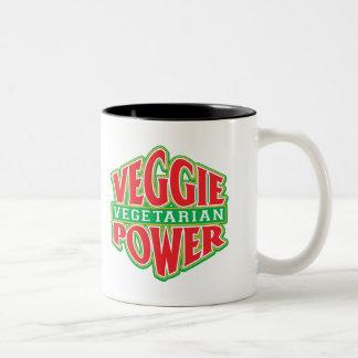 Poder del Veggie Taza De Dos Tonos