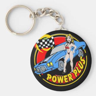Poder del vintage más el coche retro del músculo llaveros personalizados
