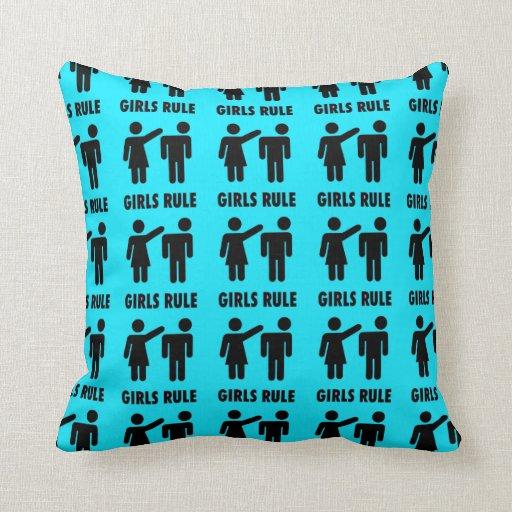 Poder divertido del chica de las azules turquesas  almohada