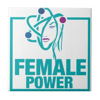 Poder femenino azulejo cuadrado pequeño