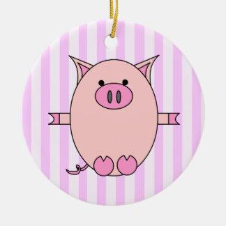 Poder guarro - Piggies rosado y rayas Adorno Navideño Redondo De Cerámica