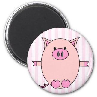Poder guarro - Piggies rosado y rayas Imán De Frigorífico