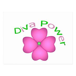 Poder inspirado de la diva de la flor tarjeta postal