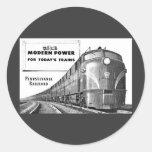 Poder moderno del tren del ferrocarril de pegatina redonda