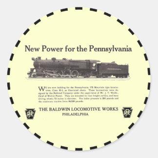 Poder para el ferrocarril 1926 de Pennsylvania Etiqueta Redonda
