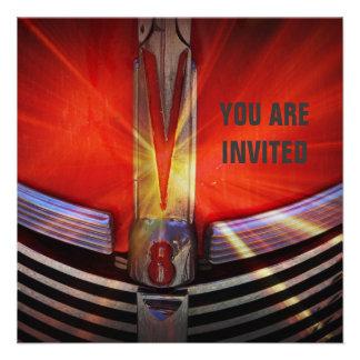 Poder rojo y cromo de V8 del coche del músculo Invitación Personalizada