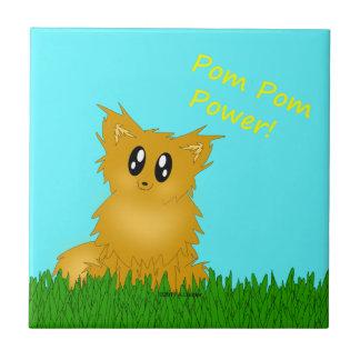 Poder Scuffy lindo Pomeranian de Pom Pom Azulejo Cuadrado Pequeño