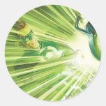 Poder verde de la linterna etiqueta redonda