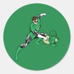 Poder verde de la linterna pegatina redonda