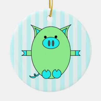 Poder verde y azul - Piggies y rayas Adorno Navideño Redondo De Cerámica