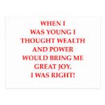 poder y felicidad de la riqueza tarjetas postales