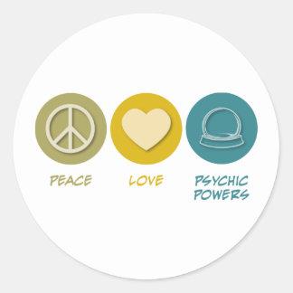 Poderes psíquicos del amor de la paz etiquetas redondas