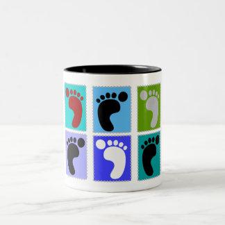 Podiatrist Gifts Popart Design of Feet Two-Tone Coffee Mug